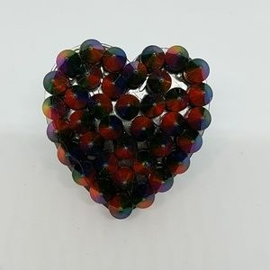 Lafayette rainbow spike heart ring sample